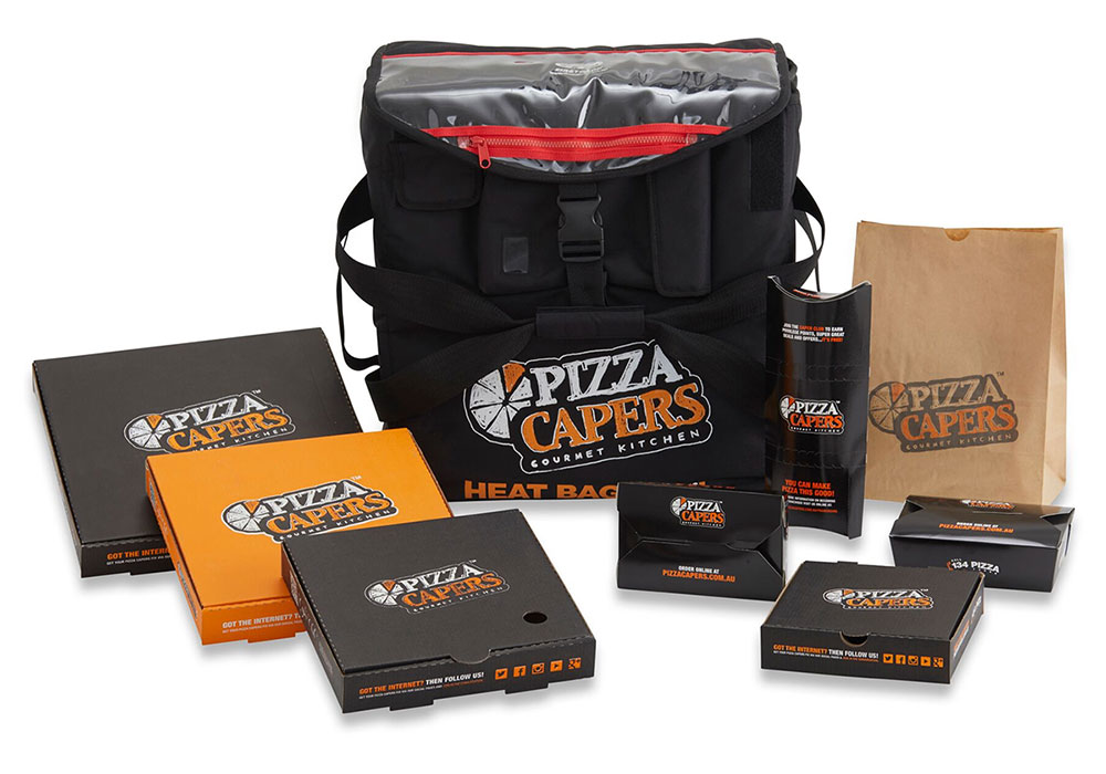 Pizza Capers franchise packaging